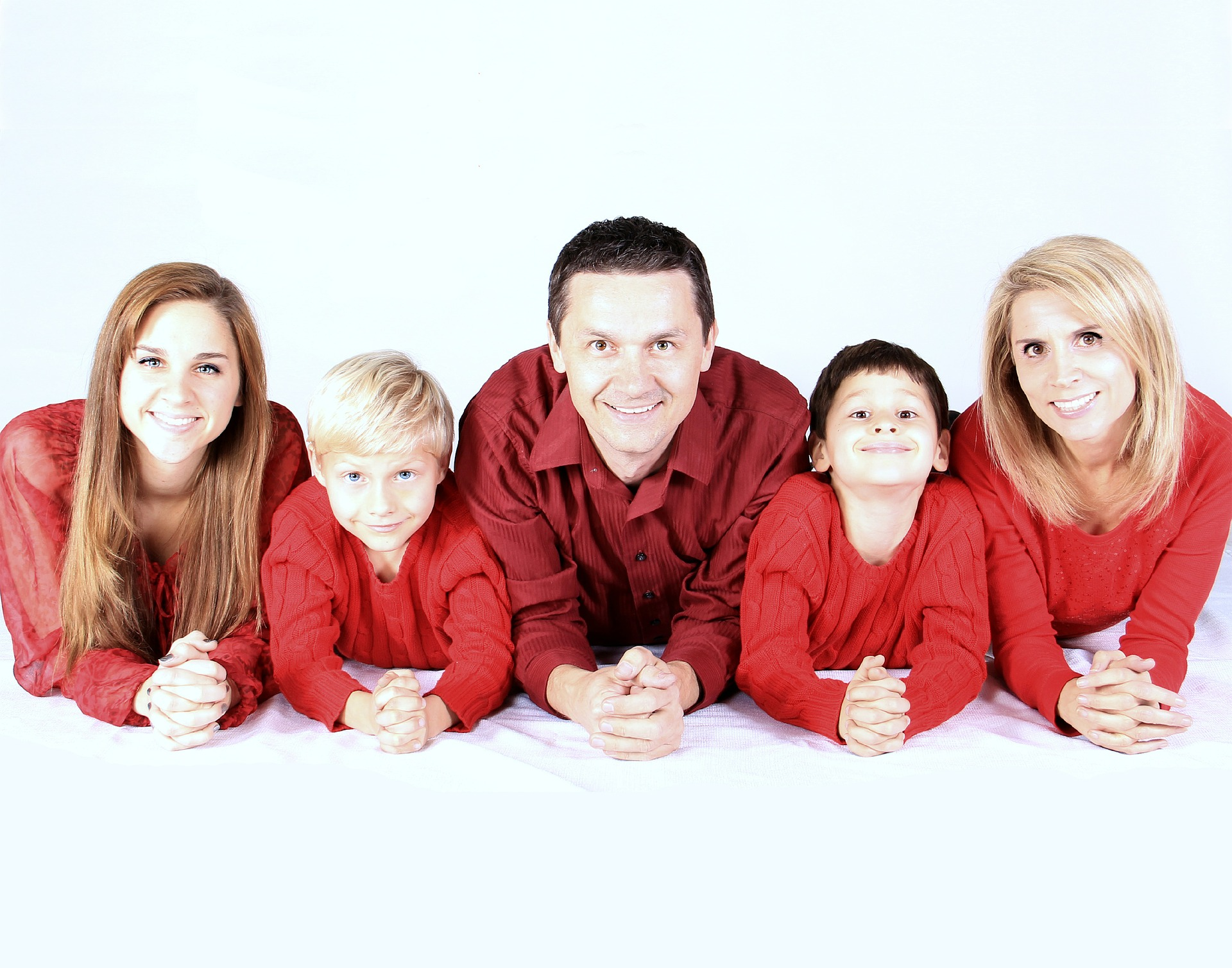 happy family in red clothes